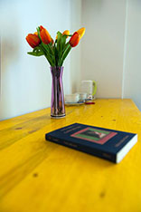 particolare di un vaso con fiori in legno vicino ad un libro